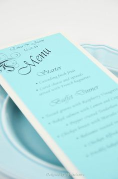 Tiffany Blue wedding dinner menu card, Tiffany Blue weddings, Tiffany Blue wedding stationary- Large orders get discounted rate on Etsy, $4.00