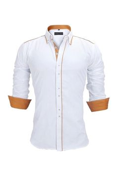 Update your formal wardrobe with this button down long sleeve shirt. Made from soft fabric, it features a collared neck and has been designed in a slim fit to create a sharper silhouette. Long Sleeve Cotton Dress, Cotton Dresses, Formal Shirts, Casual Shirts, Men's Shirts, Men Dress, Shirt Dress, Business Shirts, Men's Wardrobe