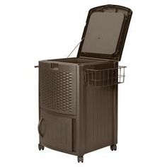 Effortlessly stow away lawn tools, d�cor, and more with this outdoor essential.Product: Deck cooler  Construction Material: Resin wicker  Color: Mocha  Features:  Easy snap together assembly Durable, decorative top withstands elementsLower cabinet for storing patio suppliesHolds 72 beverage cans or six 2-liter bottlesMade in the USA77 Quart capacity  Dimensions: 34 H x 25.5 W x 22 D