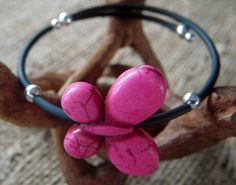 Pink Butterfly Memory Wire Bracelet with Rubber Tubing and Silver Accents