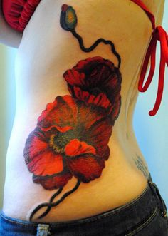 flower tattoo on side - 65  Beautiful Flower Tattoo Designs  <3 <3