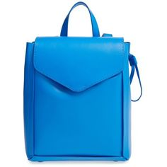 Loeffler Randall 'Mini' Leather Backpack ($395) ❤ liked on Polyvore featuring bags, backpacks, backpack, electric blue, real leather backpack, mini leather backpack, drawstring backpack, leather knapsack and sling bag