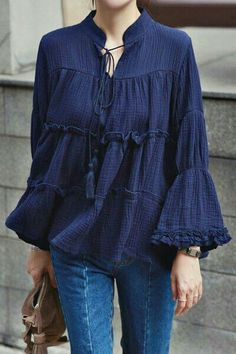 2016 Summer Shirts Vintage Flounced Blouse Horn Sleeve Plus Size Loose Casual Shirt Women Blouses Blusas blusas y camisas mujer Modest Fashion, Hijab Fashion, Fashion Dresses, Cute Blouses, Blouses For Women, Casual Shirts, Casual Outfits, Casual Dresses, Winter Typ