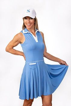 If you're in the market for some new outfits, consider our women's apparel! Shop this comfortable and stylish Periwinkle with White Accents Scratch Seventy Ladies Natalie Sleeveless Golf Dress from Lori's Golf Shoppe.