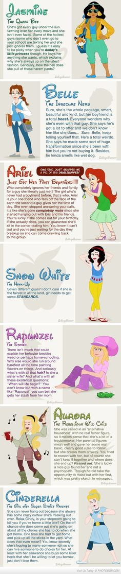 If Disney Princesses Went To High School surprisingly probably accurate. I laughed a lot.