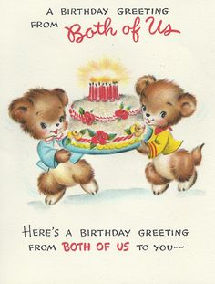 Vintage Greeting Card Happy Birthday Teddy Bear