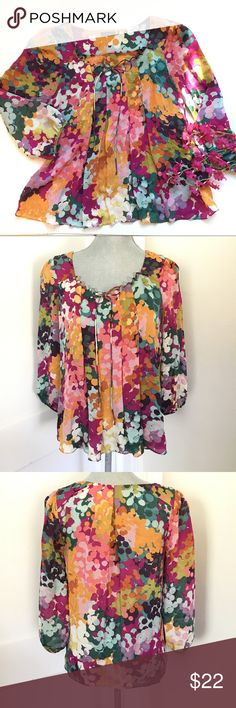 Anthropologie leifsdottir silk Floral Blouse Perfect condition, no flaws. Armpit to armpit is 19 inches length is 23 inches. 3/4 sleeves. Anthropologie Tops Blouses