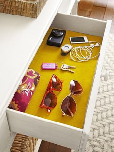 use colorful felt as a drawer liner