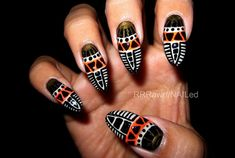 African Tribal by TheRawrShop - Nail Art Gallery nailartgallery.nailsmag.com by Nails Magazine www.nailsmag.com #nailart