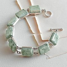 Guatemalan Jade and Sterling Silver Bracelet | National Geographic Store