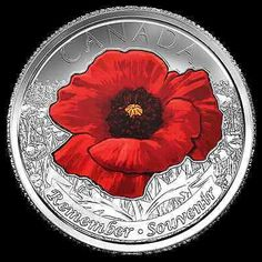 Canada 2015 Wwii Red Poppy Remembrance Day Flanders Fields Poppy 25 C Coin