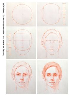 Drawing the human face - Woman frontal view - By Cuong Nguyen