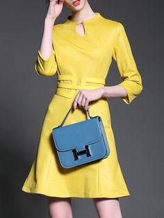Yellow Round Neck Length Sleeve Drawstring Flare Dress