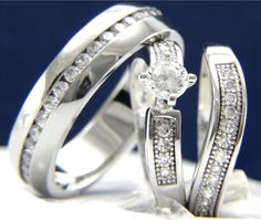 0.79 CT Solitaire CZ Engagement Wedding 316L Stainless Steel Brass Ring Band Set #InterStoreJewelry