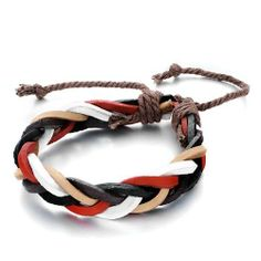 Pugster Intertwined White Black Red Brown Leather Jute Rope Bracelet Pugster. $8.79. Size (mm): 250*14.22*7.12. Weight (gram): 9.3. Metal: Leather. Color: White, black, red, brown. Save 20%!