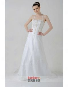 A-line Halter Sweep Train Wedding Dress, Brush Train Tulle Bridal Gown - US$ 169.99 | BuyBuyDress.com
