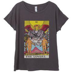 Womens Boho Lovers Tarot Card Shirt Trendy Tumblr Shirt Tee Top... ($30) ❤ liked on Polyvore featuring tops, t-shirts, white, women's clothing, boho shirts, vintage t shirts, t shirts, short sleeve tops and cotton short sleeve shirts