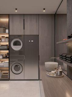 Brit Apartment on Behance Laundry Room Design, Home Room Design, Dream Home Design, Modern House Design, Home Interior Design, Modern Laundry Rooms, Laundry Room Layouts, Küchen Design, House Rooms