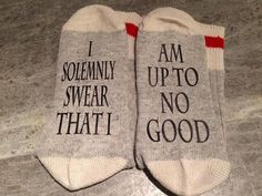 Shop for on Etsy, the place to express your creativity through the buying and selling of handmade and vintage goods. Custom Socks, Funny Socks, Novelty Socks, Wool Socks, Happy Socks, Unisex Fashion, Cool Words, Just In Case, Personalized Gifts