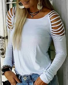 Amazing Ladder Cut Out Long Sleeve Casual T-shirt Casual T Shirts, Casual Tops, Grunge Outfits, Fashion Outfits, Fashion Styles, Womens Fashion, Style Fashion, Cut Shirts, Cut Up T Shirt