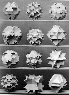 "design-is-fine: "" Max Brückner, from his book Vielecke und Vielfläche, Leipzig, Germany. Brückner extended the stellation theory beyond regular forms, and identified ten stellations. Geometric Sculpture, Geometric Form, Geometric Patterns, Geometry Art, Sacred Geometry, Paper Structure, Platonic Solid, Diy Papier, 3d Models"