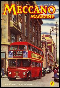 Prototype Routemaster RM1 on cover of Mecano magazine August 1956.