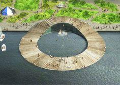 キロメートルゼロバルト海の芸術公園水の土地の都市エストニア