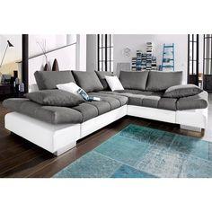 Canapé convertible imitation cuir qualité luxe et tissu effet chiné, angle fixe…