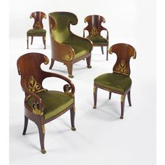 A Suite of Imperial Russian Neoclassical Style Ormolu-mounted Chairs,.late 19th Century, one Armchair struck with Imperial Brand.