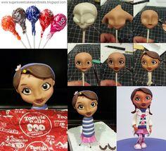How to make a gumpaste figurine's head using a lollipop - Doc McStuffins Gumpaste Figurine by Angela Tran (Sugar Sweet Cakes & Treats)