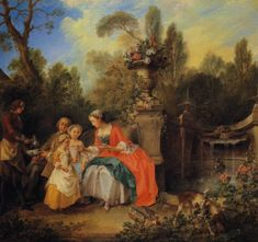 P J shares art of the day by French painter Nicolas Lancret who died this day in Marie-Anne de C - - Plurk 1740 Garden Painting, Oil Painting On Canvas, Canvas Wall Art, French Rococo, Rococo Style, Baroque, Art Ancien, Decorating With Pictures, Early American