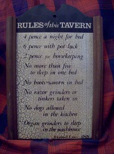 Rules of this Tavern Sign Lemuel Cox INN by kd15 on Etsy
