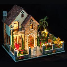 71.38$  Buy now - http://alif77.worldwells.pw/go.php?t=32263124135 - Diy houses love apartment Creative cabin model Assemble Wooden Miniature Doll House Christmas Gifts Dollhouse Furniture Toys