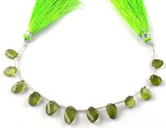 1 Strand Natural Peridot Briolette 6x9-7x12mm Twisted Oval Side Drilled Beads