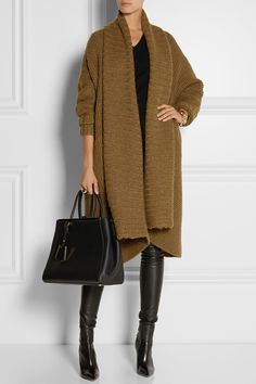 Cozy! Make sit easier to be fashionable in the dead of Winter! Donna Karan|Oversized alpaca, silk, cashmere and wool-blend cardigan|NET-A-PORTER.COM
