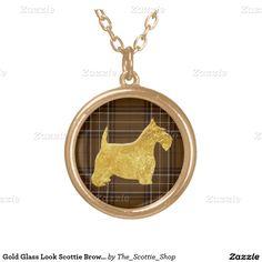 Gold Glass Look Scottie Brown Plaid Round Pendant Necklace