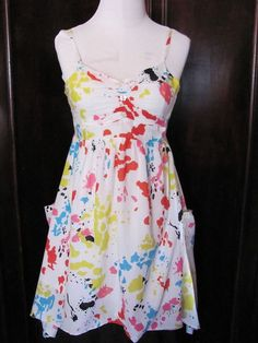 Apollo White Pink Blue Yellow Paint Splatter Handkerchief Sun Dress Large #Apollo #Sundress #Casual