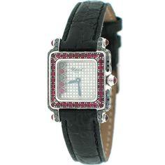 Chopard HAPPY SPORT SQUARE 5258 Ladies 18K White Gold w/ Diamond & Emerald Watch