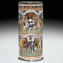 """Apparently, to match the copious amount of beer they held, Humpen depicted weighty subject matter. """"10 Ages of Man,"""" blown and enameled. 1500-1699."""