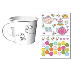 Tea cups that kids can color or place stickers on. One set of 6 Tea Time Tea Party Decorate Your Own Favor Cups Details: Tea Party Activities, Paper Tea Cups, Tea Wedding Favors, Pink Party Decorations, Christmas Decorations, Alice Tea Party, Tea Party Baby Shower, Spa Party, Bridal Shower
