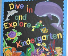 """""""Dive In and Explore Grade ___"""" is a nice title for an ocean themed Back to School bulletin board display."""
