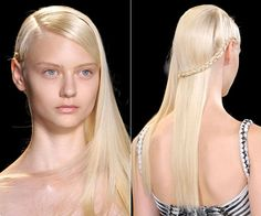 Long Blonde Straight Hair with Braid