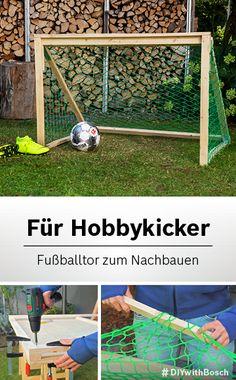 DIY-Fußballtor aus Holz zum Selberbauen A goal in the garden should not be missing for a real footba Diy Crafts To Sell, Diy Crafts For Kids, Diy Bird Feeder, Diy Fan, Diy Wood Projects, Wooden Diy, Garden Furniture, Backyard Landscaping, Diy Design