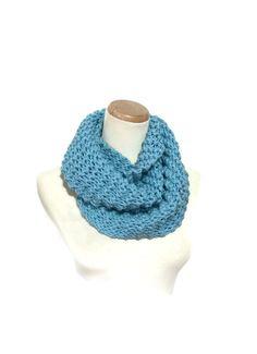 Knit Scarf Knit Cowl Infinity Scarf  Blue Scarf by ArlenesBoutique