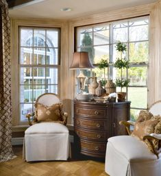 I love everything in this bay window vignette. It's an interesting mix and all perfect.