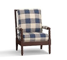 Loralie Upholstered Spindle Armchair Vintage Grainsack Buffalo Blue/Flax
