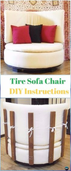 DIY Round Tire Sofa Chair Instructions - DIY Old Tire Furniture Ideas&Tutorials