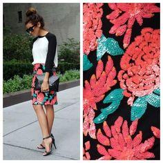 Greylin Dresses & Skirts - Floral sequin skirt on Poshmark