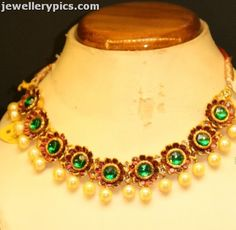 Floral ruby and emerald necklace with pearl drops