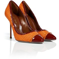 SERGIO ROSSI Mandarin/Paprika Woven Leather Cap Toe Stilettos ($337) ❤ liked on Polyvore featuring shoes, pumps, sapatos, stiletto heel pumps, color block pumps, leather shoes, woven shoes and red stilettos shoes